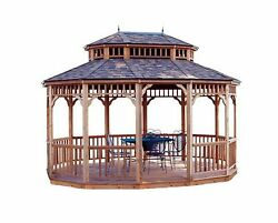 Monterey 10 ft x 14 ft Oval Gazebo Outdoor Garden Patio Decorative Home Shed