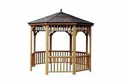 10 ft. San Marino Round Wood Gazebo Garden Home Shed Patio Outdoor Decorative
