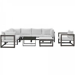 Modway EEI-1734-BRN-WHI-SET Fortuna 9 Piece Outdoor Patio Sectional Sofa Set In