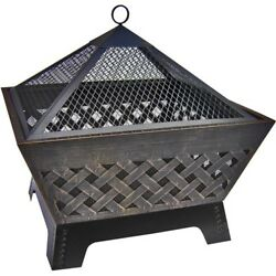 Outdoor Fire Pit Fireplace Steel Contemporary Square Firebox Back Yard Patio