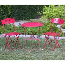 Metal Outdoor Furniture Patio Bistro Set 3pcs Red Table And Chairs