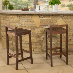 Outdoor Wood Bar Stools Contemporary 35 Inch Set of 2 Low Back Patio Deck Acacia