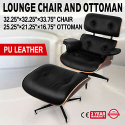 Classic Lounge Chair and Ottoman PU Leather Real Leather Home Top  Eames Style