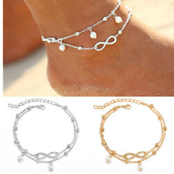 Sexy Women Double Chain Ankle Beads Anklet Bracelet Barefoot Sandal Beach