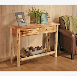 Rustic Pine Log Sofa Table Console Cabin Cottage Home Wood Furniture Living Room