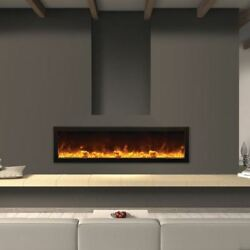 Deep IndoorOutdoor Electric Fireplace with Black Steel Surround - 60