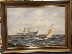 Original 20th C. Oil Painting Seascape Cargo Ship Signed Listed Henry Scott