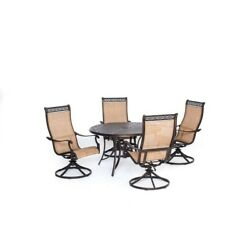 5-Piece Round Outdoor Patio Dining Table Chairs Set with Four Swivel Rockers