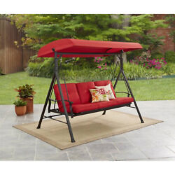 3 Person Porch Swing With Canopy Cover Patio Garden Furniture Outdoor Yard Red