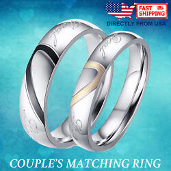 Couple's Matching Heart Ring REAL Love His or Hers Wedding Band Promise Ring