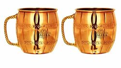 Set Of 2 Pure Copper Moscow Mule Beer Mug Brass Handle Beer Mug 18 Oz Bar Hotel