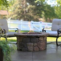 Outdoor Fire Pit  Propane Gas Fire Table Large 45 in Patio Deck Free Cover
