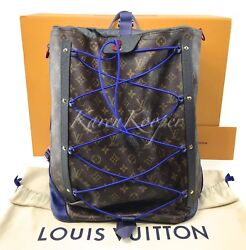 NEW AUTH LOUIS VUITTON MONOGRAM OUTDOOR PACIFIC BLUE BACKPACK BAG MEN SPLIT