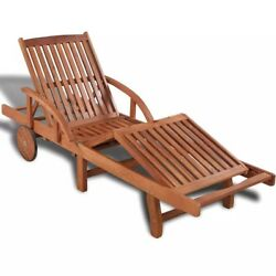 Chaise Lounge Chair Outdoor Wooden Table Pool Backyard Garden Deck Furniture New