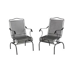 Outdoor Patio Rocking Chair 2-Pack Durable Wrought Iron Frame Armchair Furniture