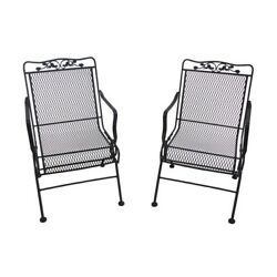Patio Outdoor Black Rocking Chair Motion Dining 2-Pack Wrought Iron Frames