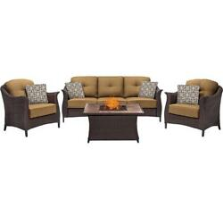 Hanover GRAM4PCFP-TAN-WG 4 Piece Gramercy Woven Fire Pit Set in Country Cork