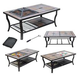 AXXONN 4 in 1 Rectangular Tile Top Fire Pit Cooler Grill and Coffee Table...