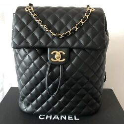 CHANEL Urban Spirit Black Quilted Backpack with Gold Hardware large SOLDOUT New!