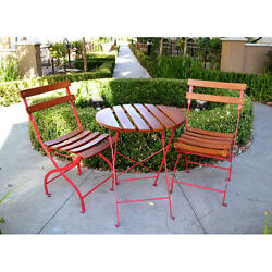 3 Piece Red Folding Metal Wood Patio Bistro Set Outdoor Home Furniture Garden