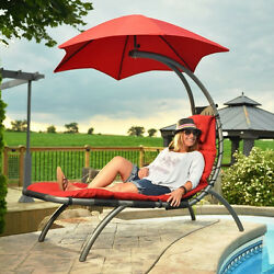 Red Canopy Single Seat Patio Chaise Lounge Hammock Home Outdoor Furniture Deck