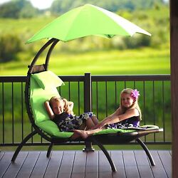 Green Canopy Single Seat Patio Chaise Lounge Hammock Home Outdoor Furniture Deck
