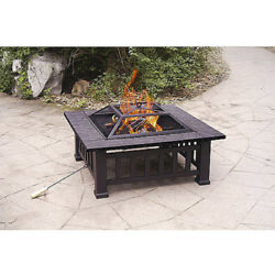Wood Fire Pit with Cover Patio Lawn Garden Furniture Lighting New
