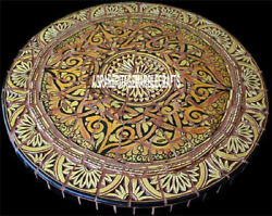 Traditional Marble Round Dining Table Mosaic Unique Inlay Arts Patio Decor H3949