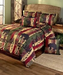 5-PC FULL QUEEN DAKOTA LODGE COMFORTER PILLOW SHAM LOG CABIN RUSTIC HOME DECOR