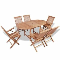 Patio Dining Oval Extending Table Teak Wood 6 Folding Chairs Garden Furniture