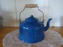 REDUCED  Vintage? Blue Speckled Tea Enamel Pot-Farmhouse Decor-Camping-She Sheds
