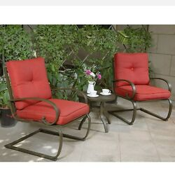 3Pcs Bistro Table Set Outdoor Patio Cafe Garden Furniture Seat Wrought Iron Red
