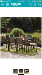 10pc Height Dining Set Glass Table Mainstays Canopy Outdoor Patio 8 Seats Droma