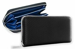 FRULE leather wallet Italian leather carbon leather large capacity Men's ... PO