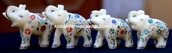 4 Pcs Antique Marble Elephant Trunk Up Semi Mosaic Inlay Art Marquetry Art H1967