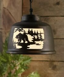BEAR WILDLIFE PENDANT LAMP LIGHT RUSTIC LODGE LOG CABIN MOUNTAIN HOME DECOR