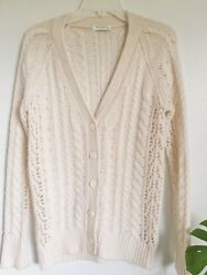 Equipment Femme Suzy Ivory White ButtonDown Cable Knit Wool Cashmere Cardigan XS