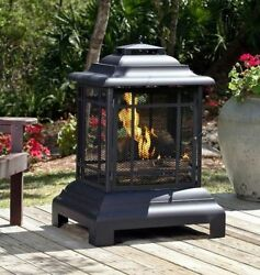 Chiminea Outdoor Fireplace Modern Fire Pit Patio Portable Backyard Wood Burning
