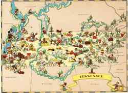 Canvas Reproduction Vintage Pictorial Map of Tennessee Ruth Taylor 1935 $19.99