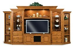Amish Hoosier TV Entertainment Center Wall Unit Solid Oak Wood Traditional