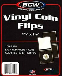 Vinyl Coin Flips Coin Holders BCW Protection Pvc Slips 100 Pcs. 1-78