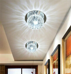 3W Round Crystal Ceiling Light LED Fixture Pendant Room Lamp Lighting Chandelier $23.39