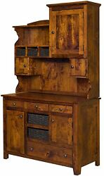 Amish Country Kitchen Lizzie Hutch Farmhouse Pantry Cupboard Rustic Cherry Wood