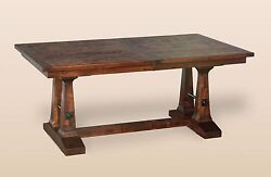 Amish Rustic Plank Trestle Dining Table Solid Wood Expandable Distressed 42x72