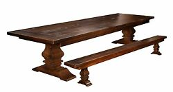 Plank Farmhouse Trestle Dining Table Set Bench Rustic Extending Solid Wood 2