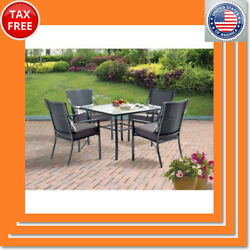Mainstays Alexandra Square 5-Piece Patio Dining Set Grey With Leaves Seats 4