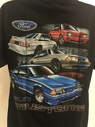 Ford Mustang T Shirt Black w Four Ford Fox Body Mustang 5.0 Licensed $19.99