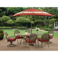8 Piece Red Cushion Patio Dining w Umbrella Set Outdoor Home Seating Furniture