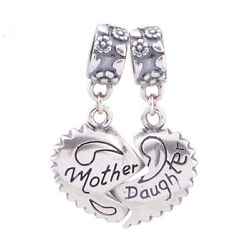 Authentic Genuine S925 silver 'mother daughter' lovely heart dangle charm bead