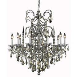 9710 Athena Collection Chandelier D:30in H:31in Lt:10 Pewter Finish (Royal Cu...